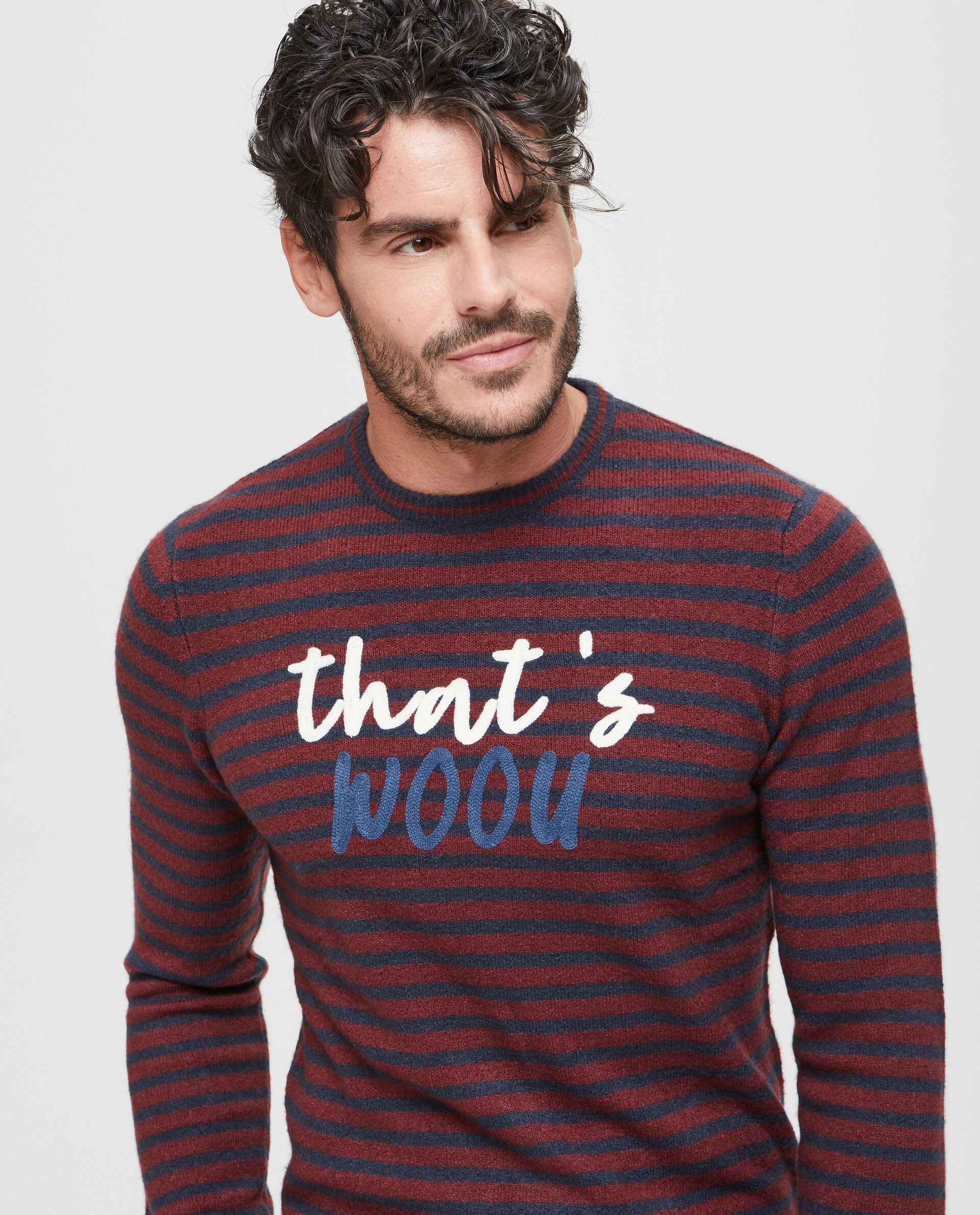 Pullover stretch a righe con lettering