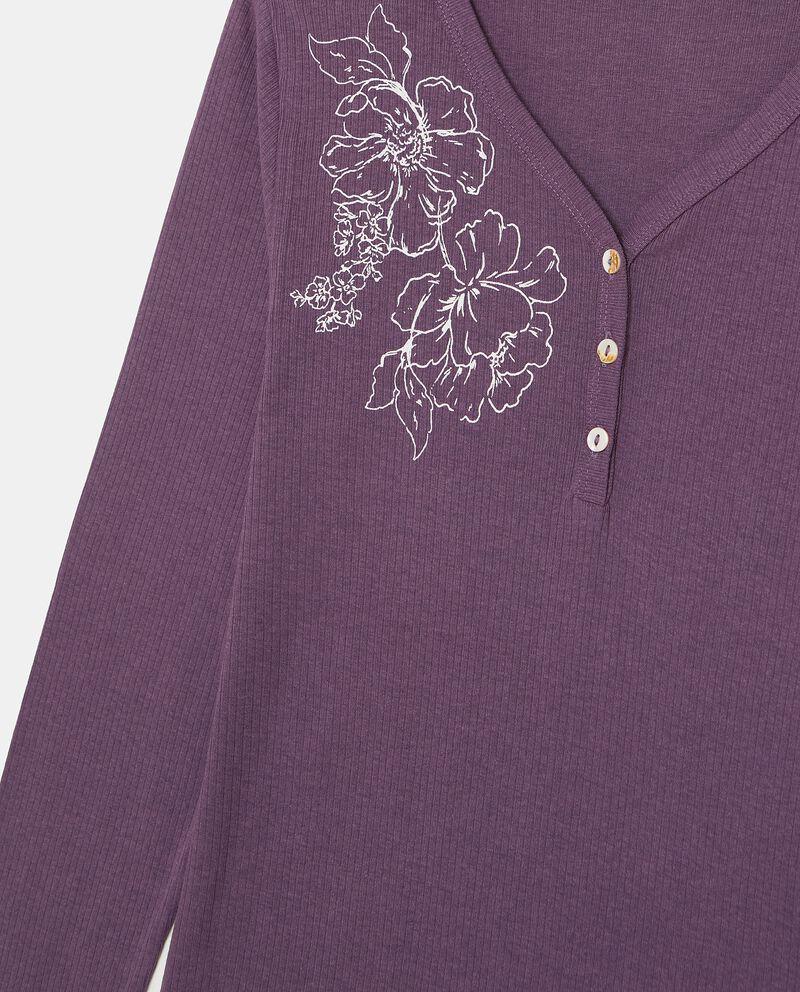 Maglia del pigiama a costine con stampa donna