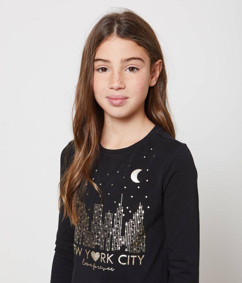 T-shirt stampa glitterata New York
