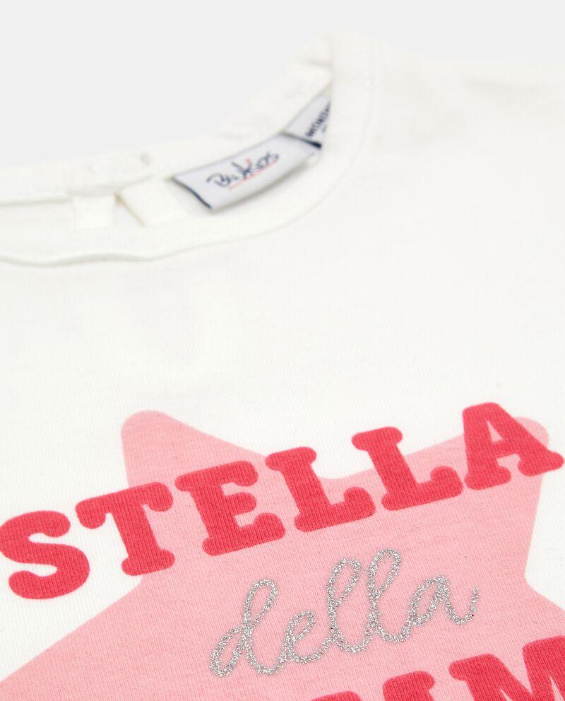 T-shirt in cotone con stampa glitter neonata single tile 1
