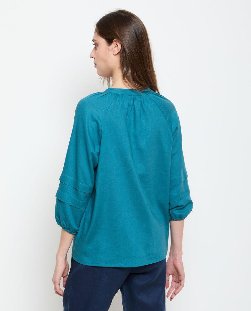 Camicia in misto lino con scollo a V donna