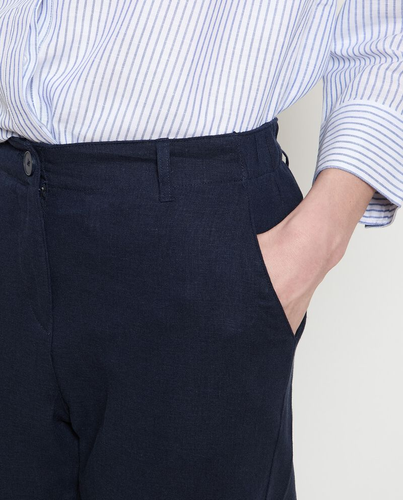 Pantaloni in misto lino donna