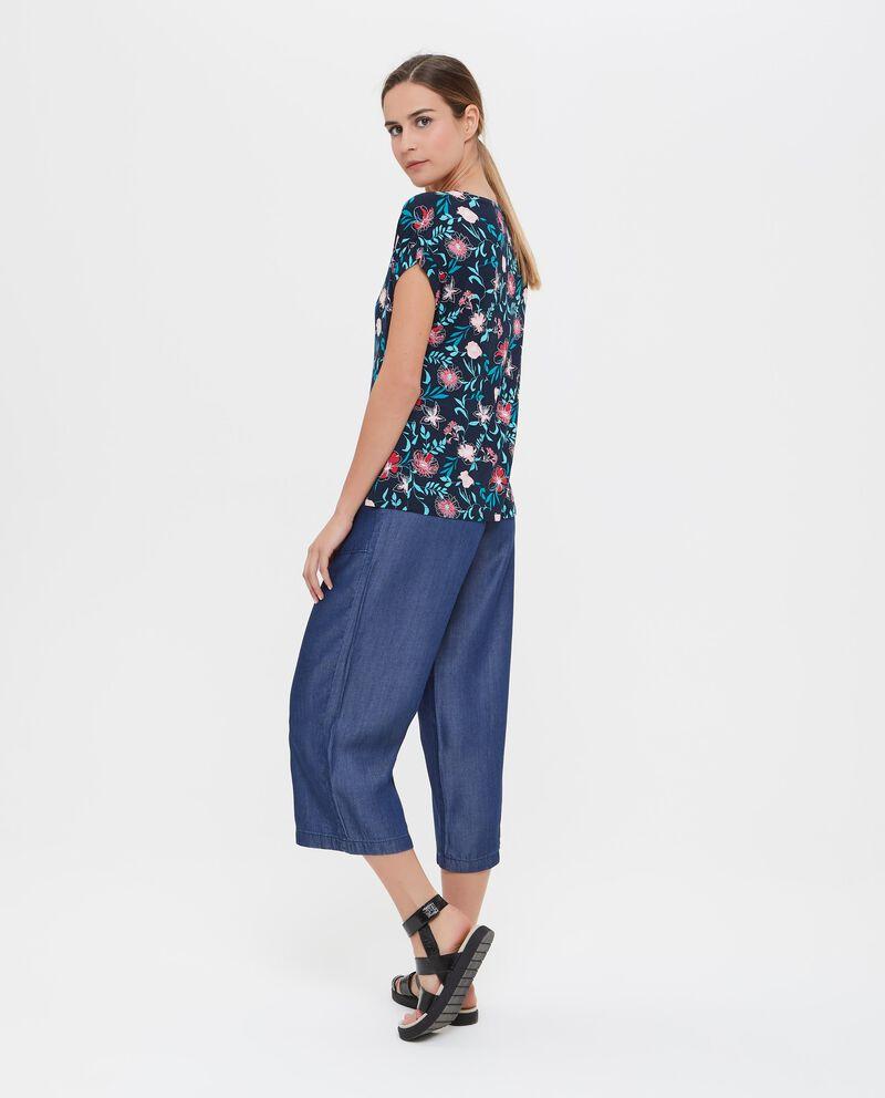 T-shirt viscosa misto elastane con fantasia floreale donna