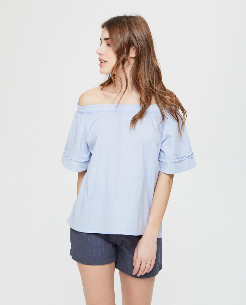 Camicia con spalle scoperte in tinta unita blu
