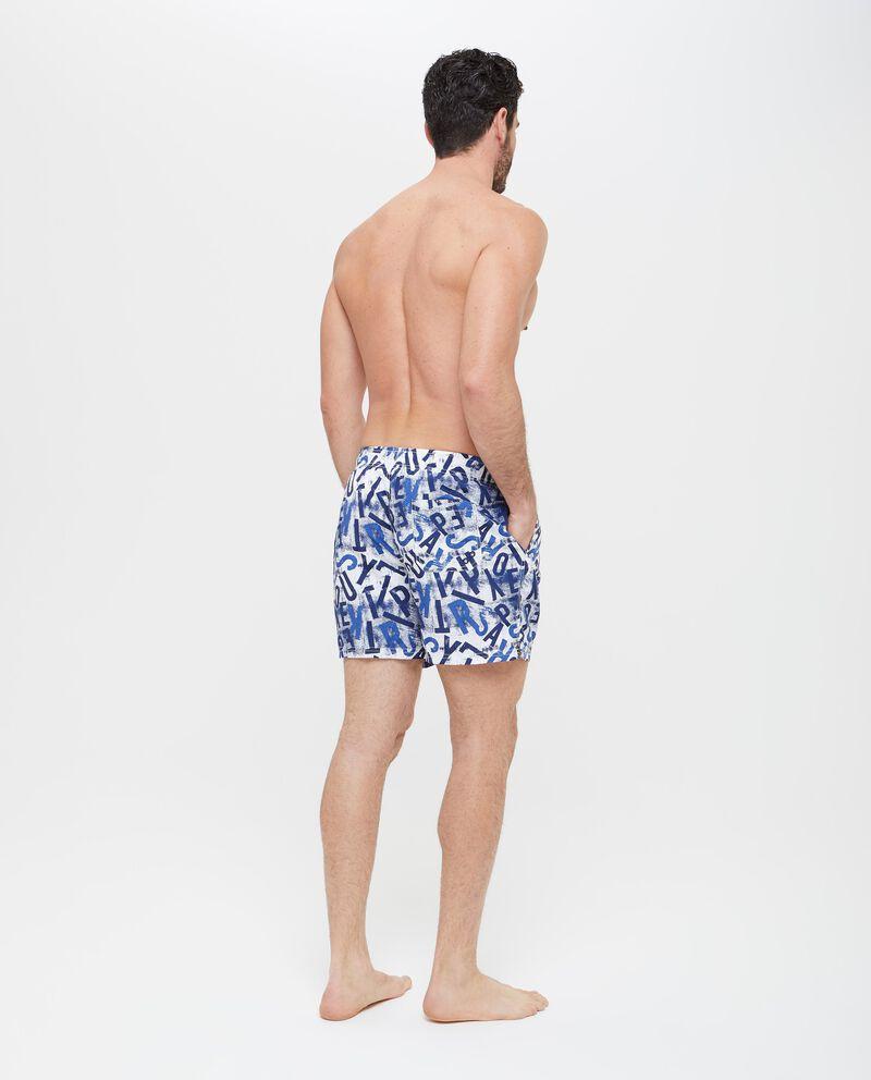 Shorts mare con fantasia e lettering uomo