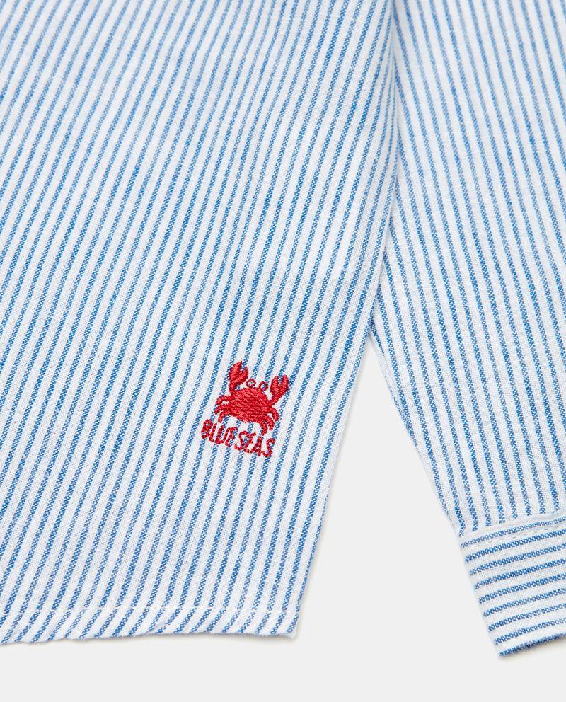 Camicia rigata in lino misto cotone neonato