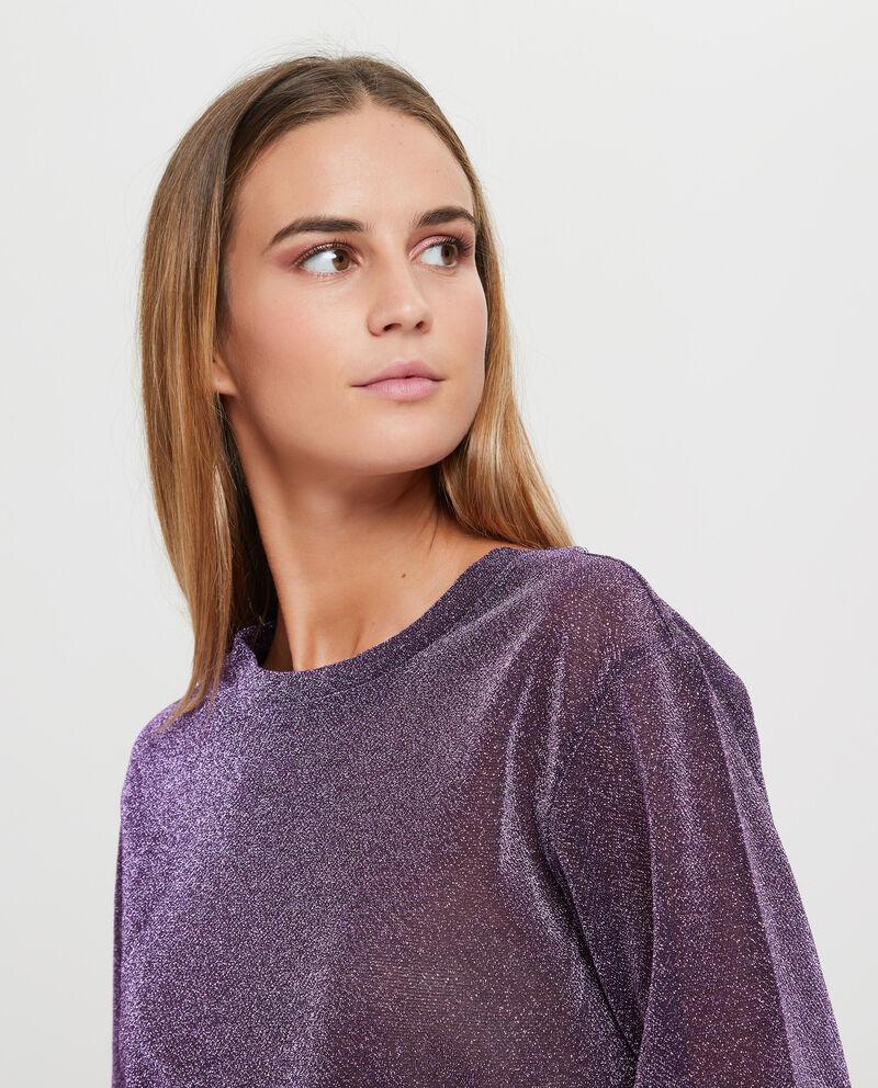 T-shirt con lurex tinta unita