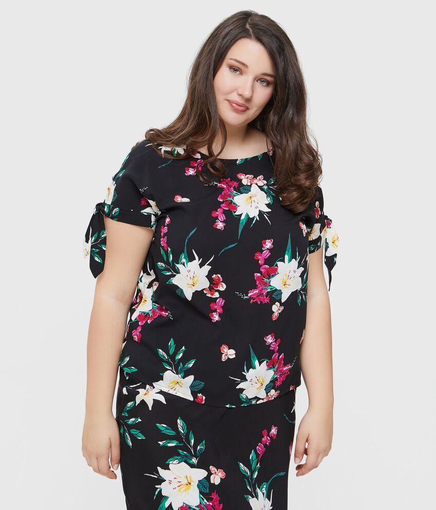 Blusa in pura viscosa con fantasia floreale donna