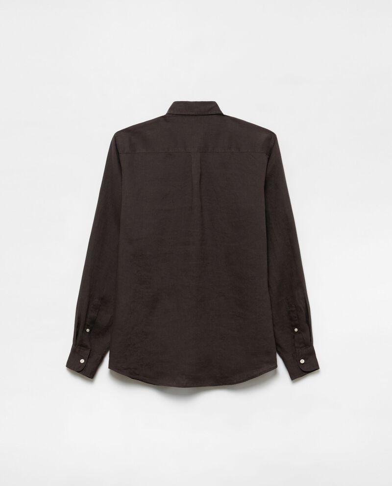 Camicia puro lino colletto button-down single tile 1