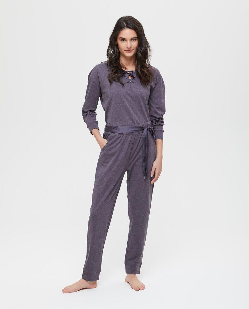 Pantaloni pigiama mélange con laccetto