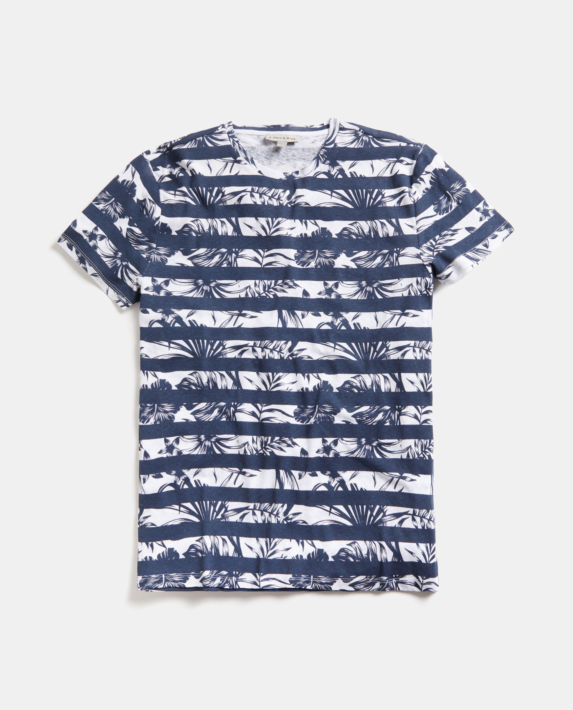 T-shirt in cotone misto lino a righe uomo