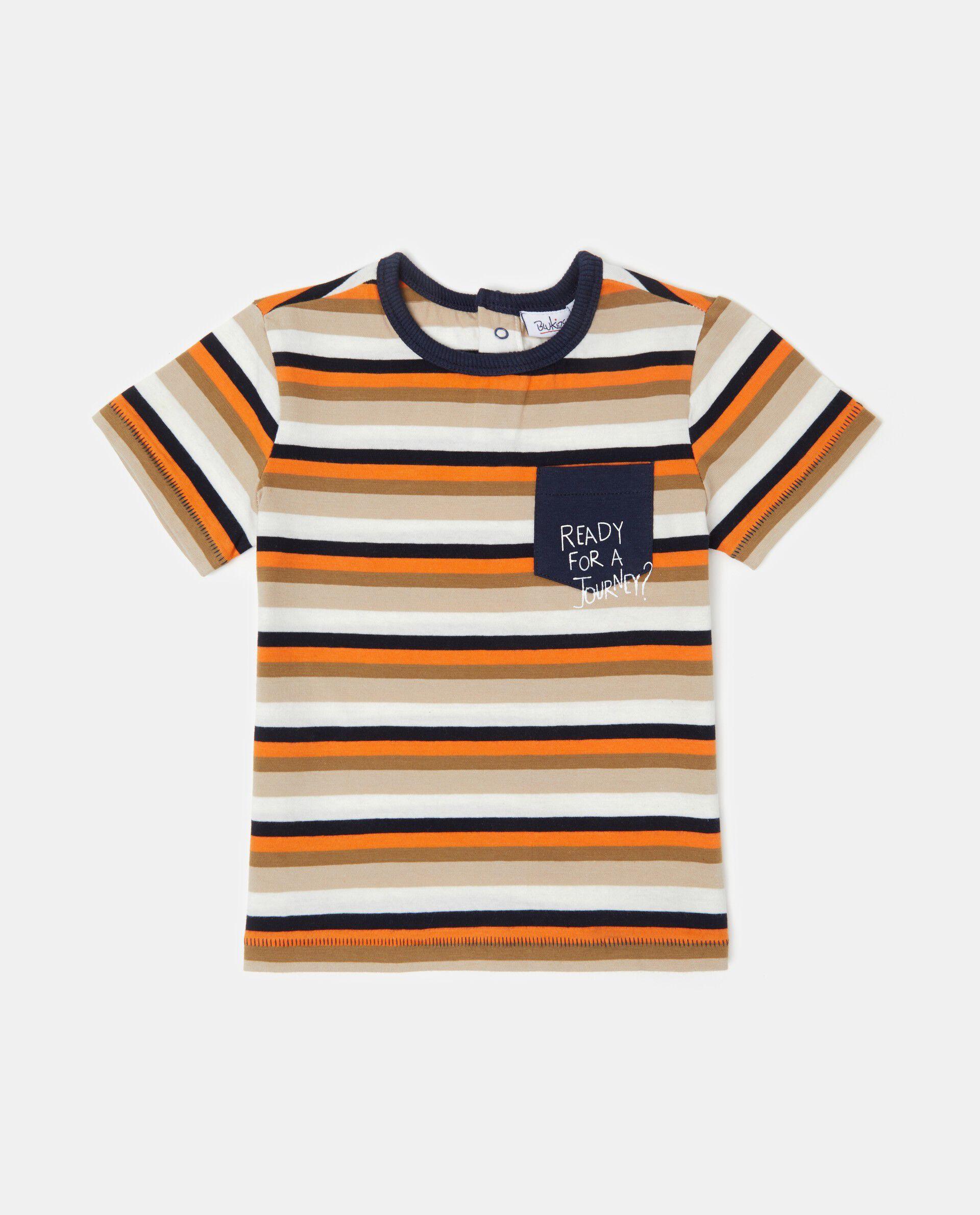 T-shirt con taschino fantasia a righe