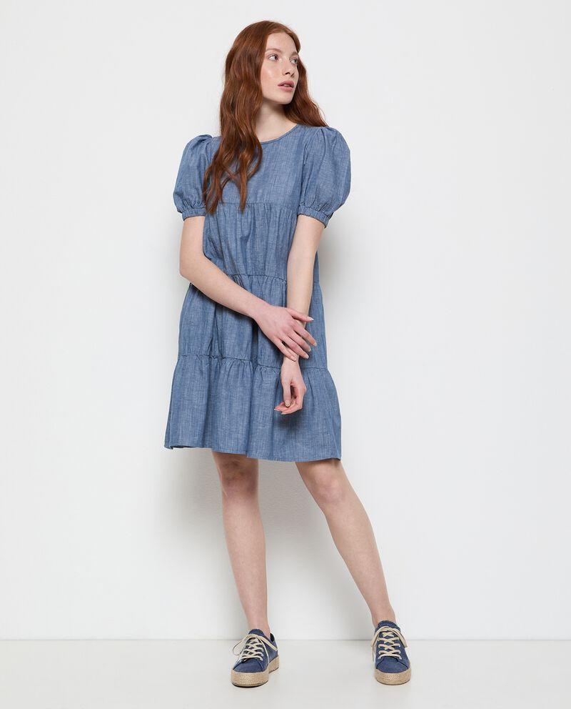 Vestito a balze denim in cotone misto lino donna