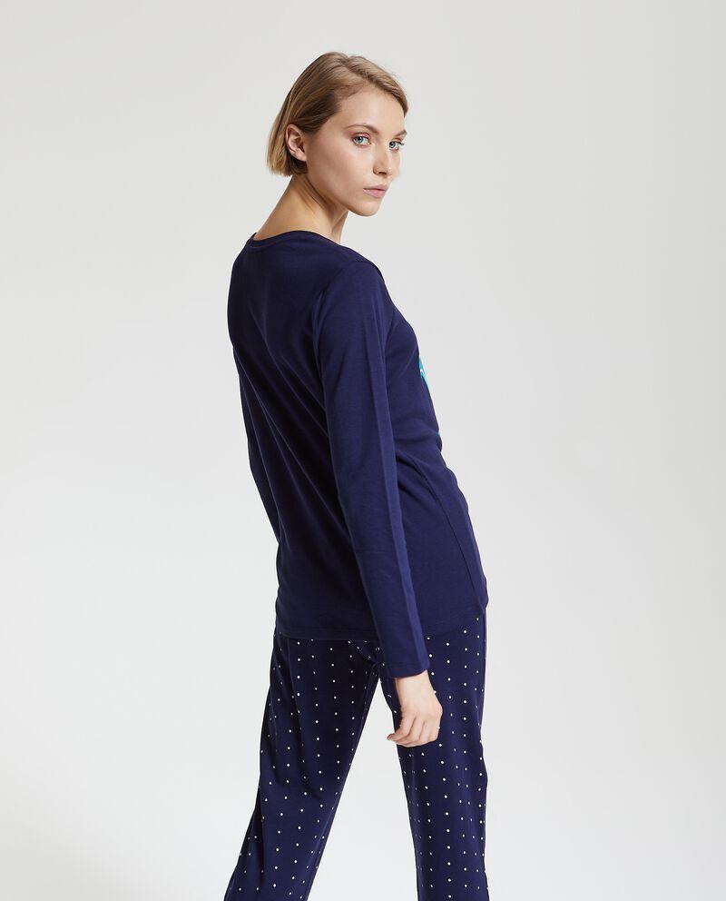 Maglia pigiama in puro cotone con stampa natalizia