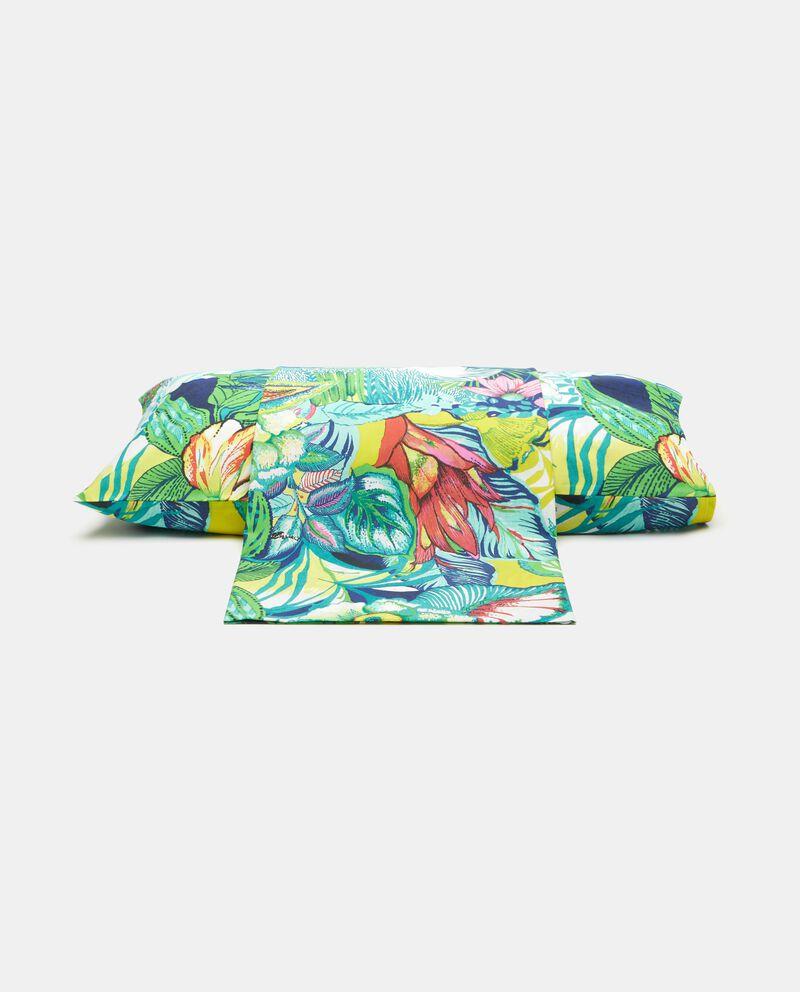 Parure lenzuolo fantasia tropicale in puro cotone