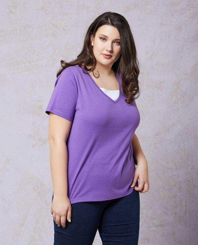 T-shirt in puro cotone con scollo a V Curvy donna