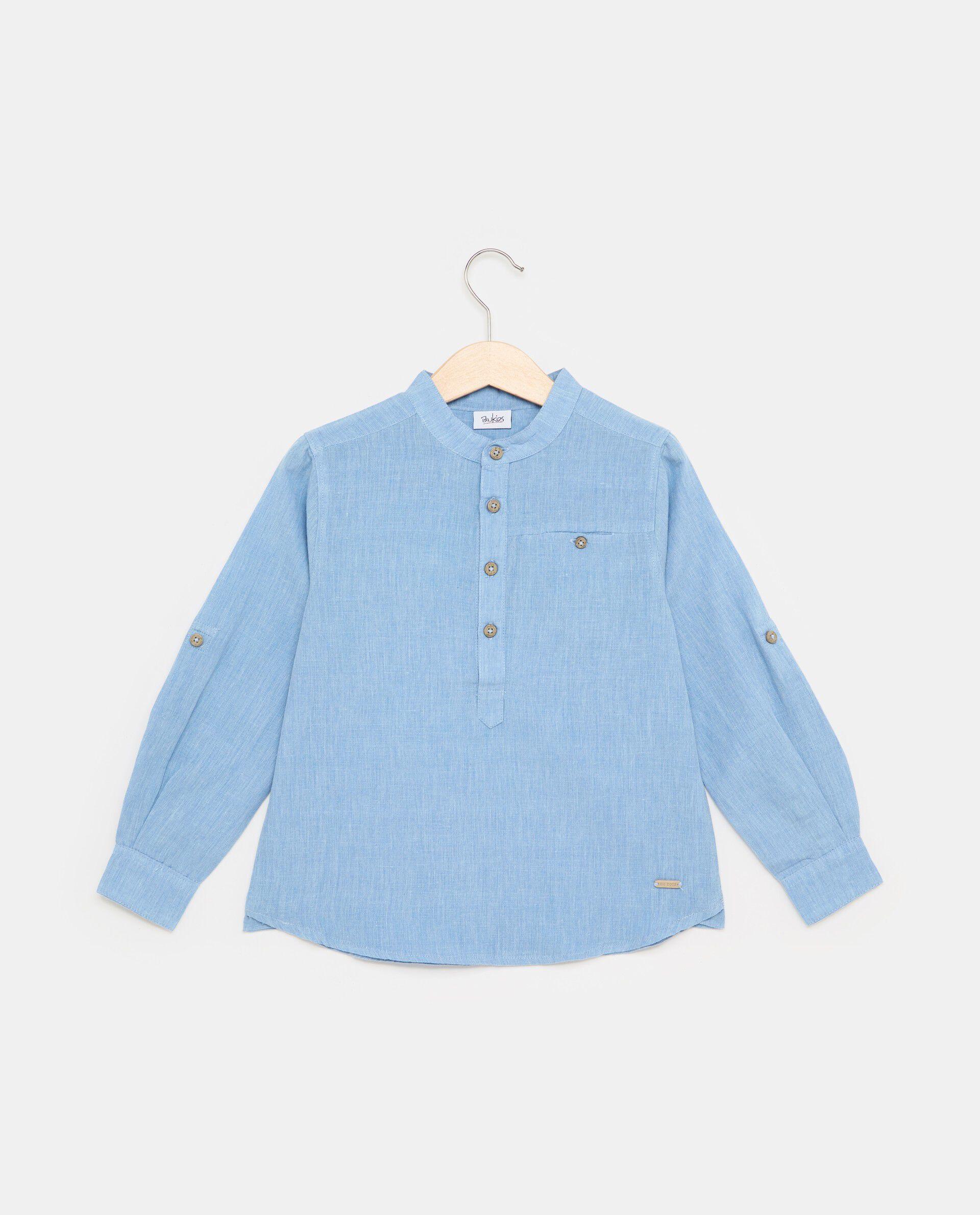 Camicia tinta unita in cotone misto lino bambino