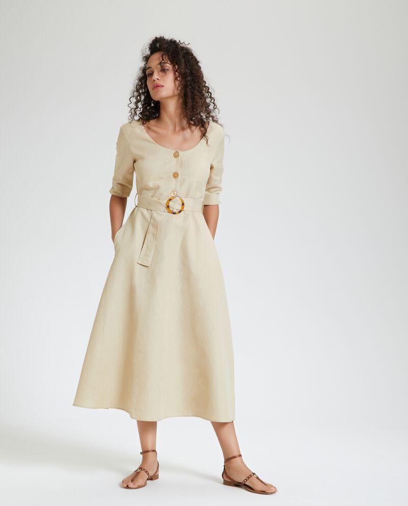 Vestito lungo in cotone misto lino donna