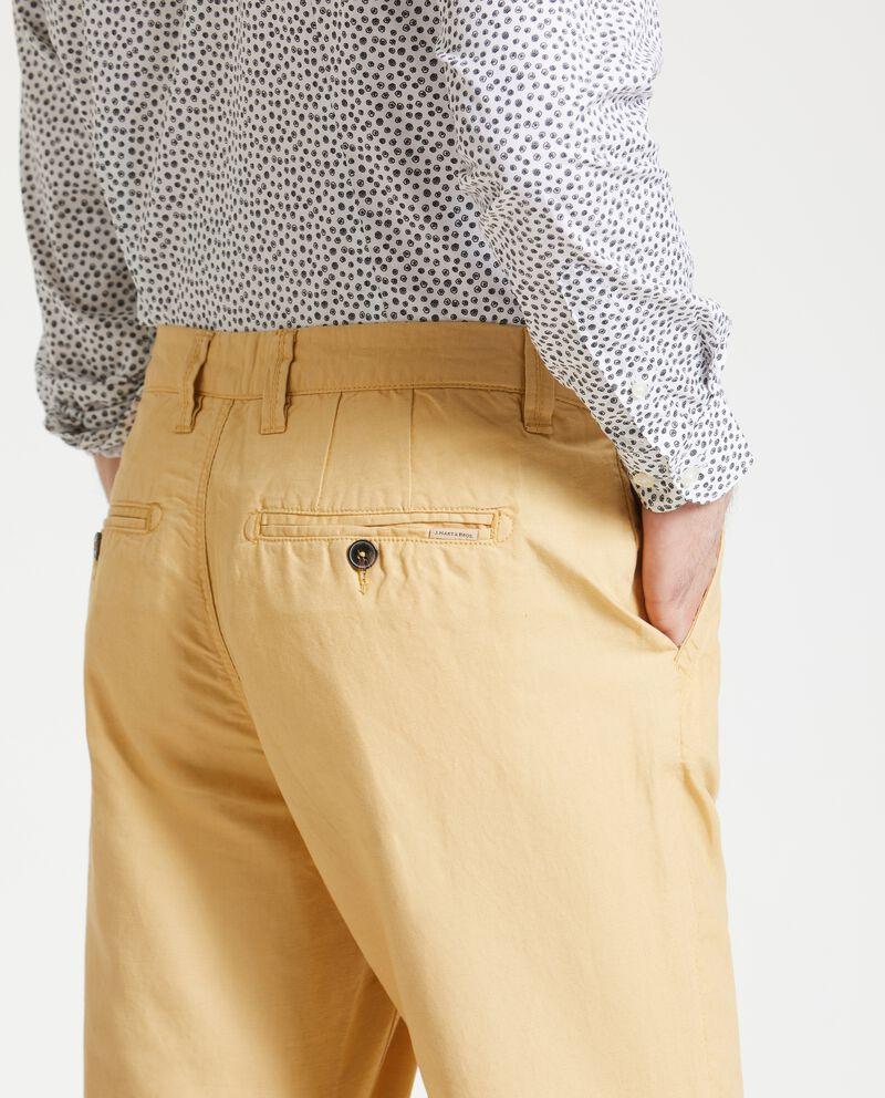 Pantaloni chino regular in lino misto cotone uomo
