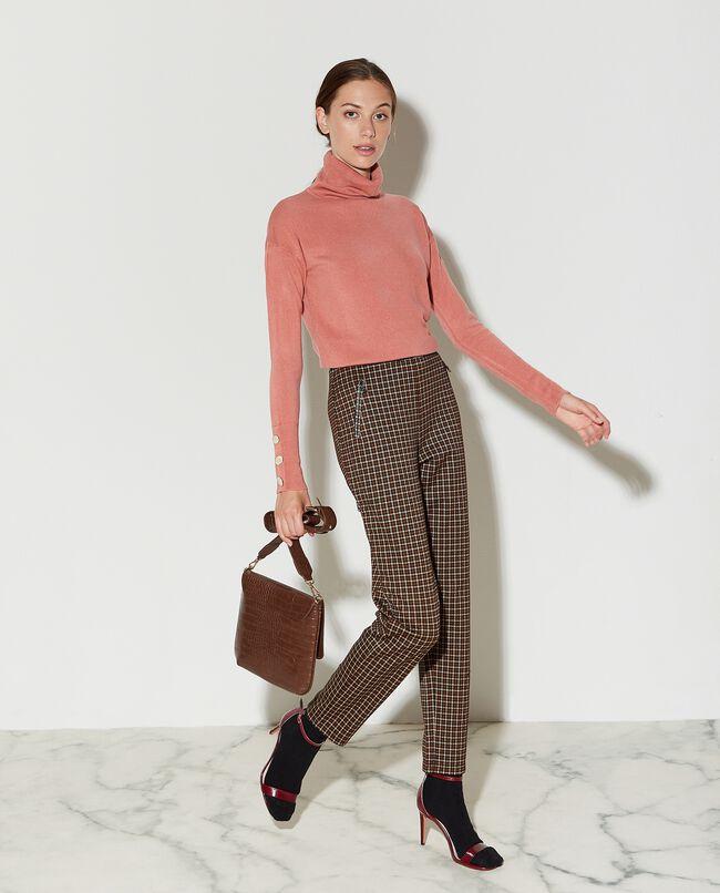 Pantaloni a vita alta pied de poule donna