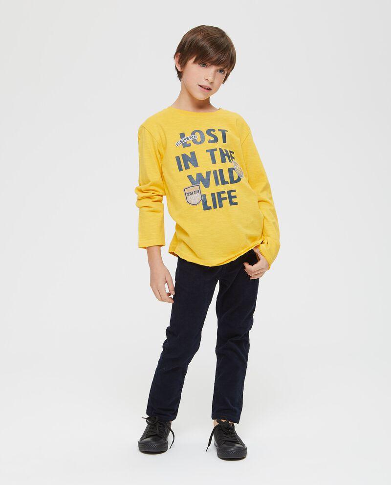 T-shirt maniche lunghe lettering e patch