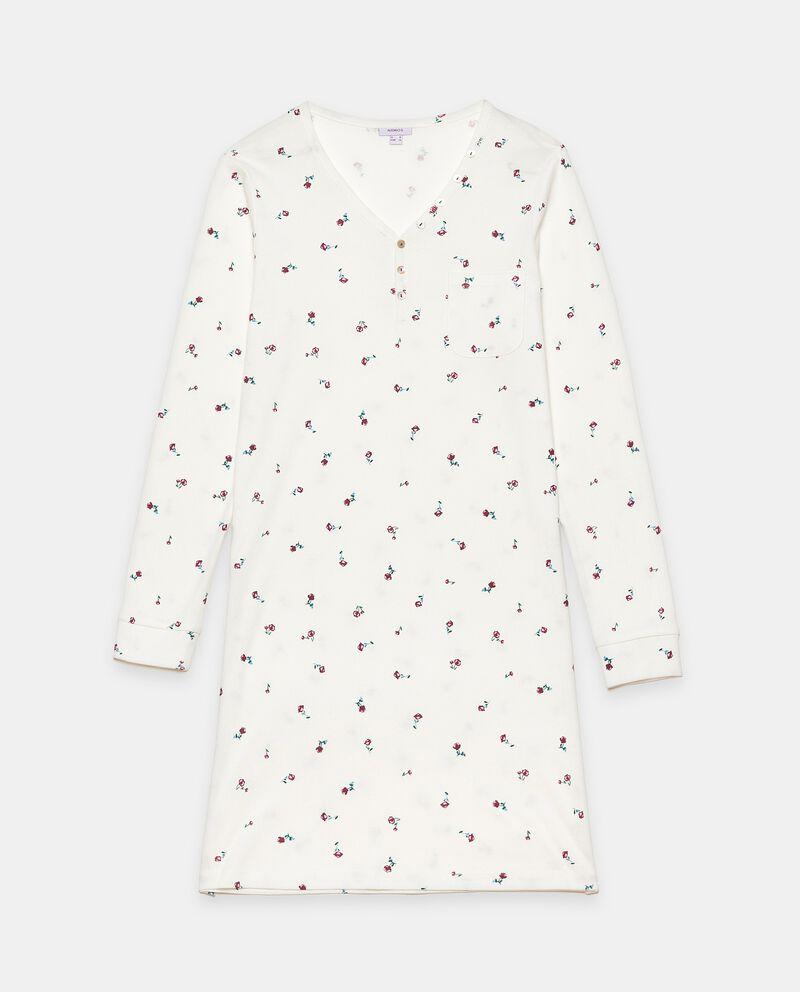 Camicia da notte a coste in puro cotone