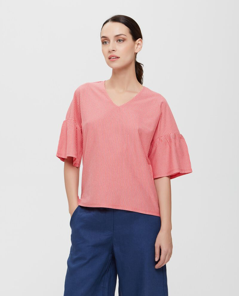 T-shirt rossa in puro cotone a maniche lunghe a righe donna