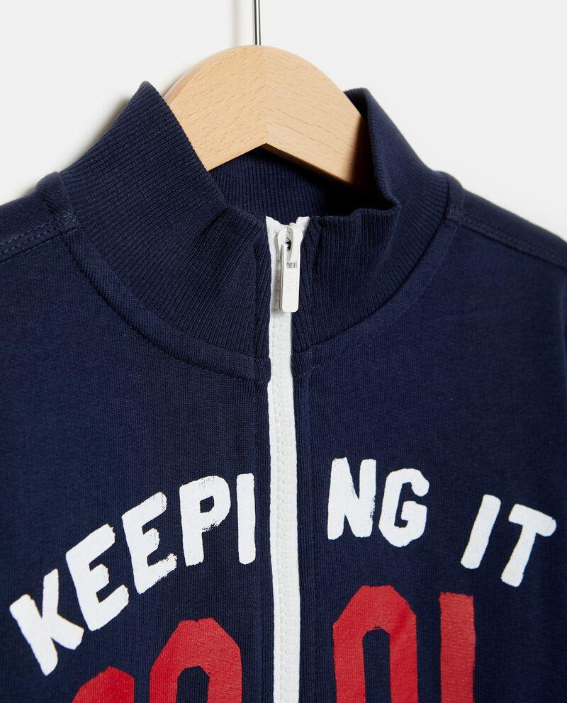 Felpa in cotone con zip e lettering