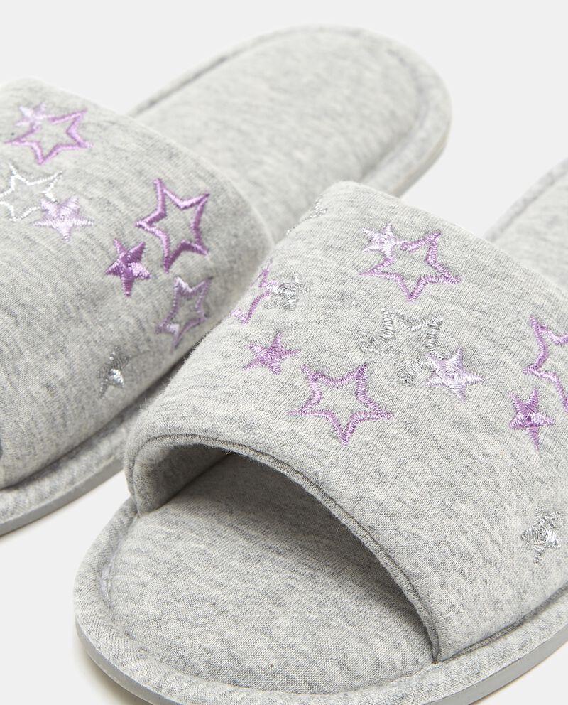 Pantofole grigie con ricamo stelle donna