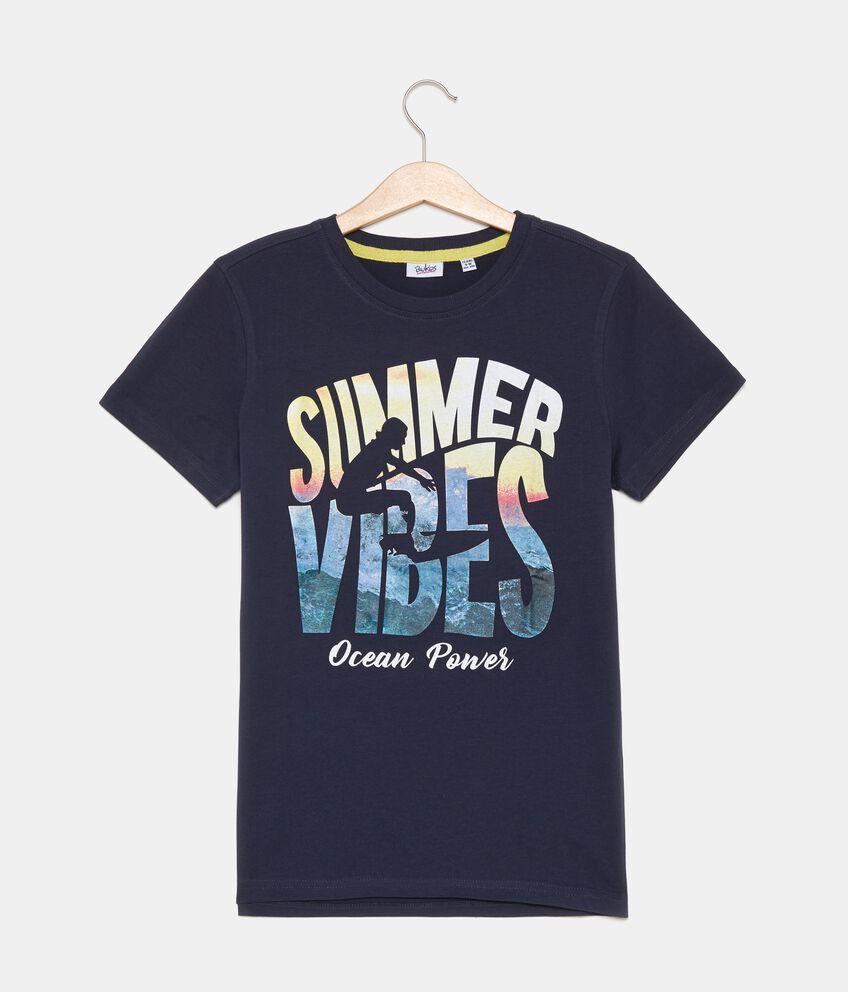 T-shirt con lettering puro cotone ragazzo