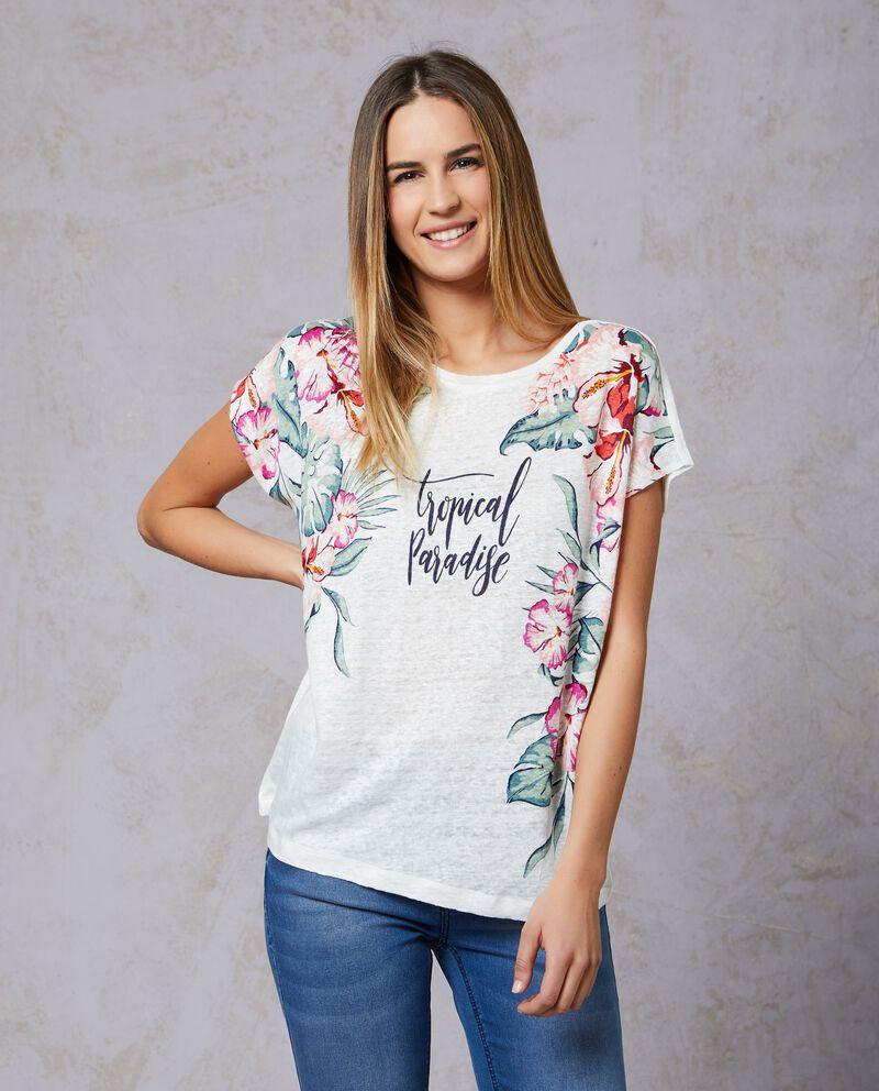 T-shirt in puro lino con fantasia tropicale donna