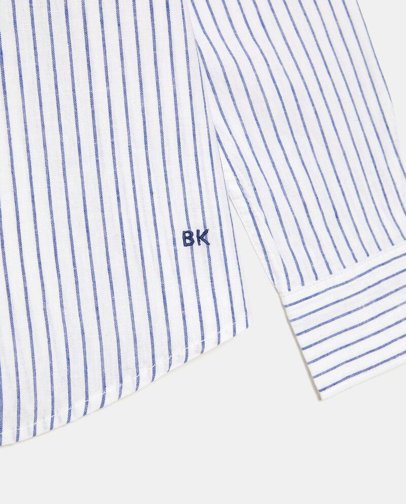 Camicia rigata alla coreana in cotone misto lino ragazzo