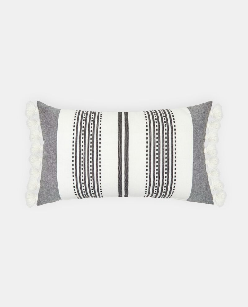 Cuscino in cotone con frange a righe