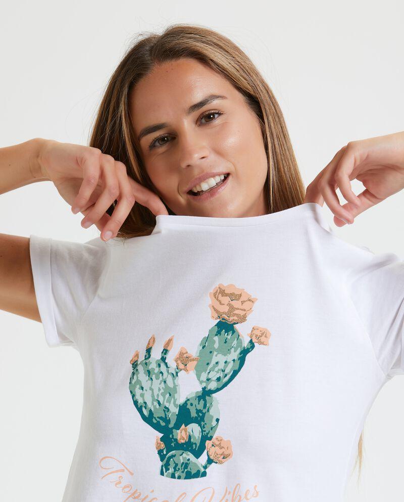 T-shirt in puro cotone con stampa donna