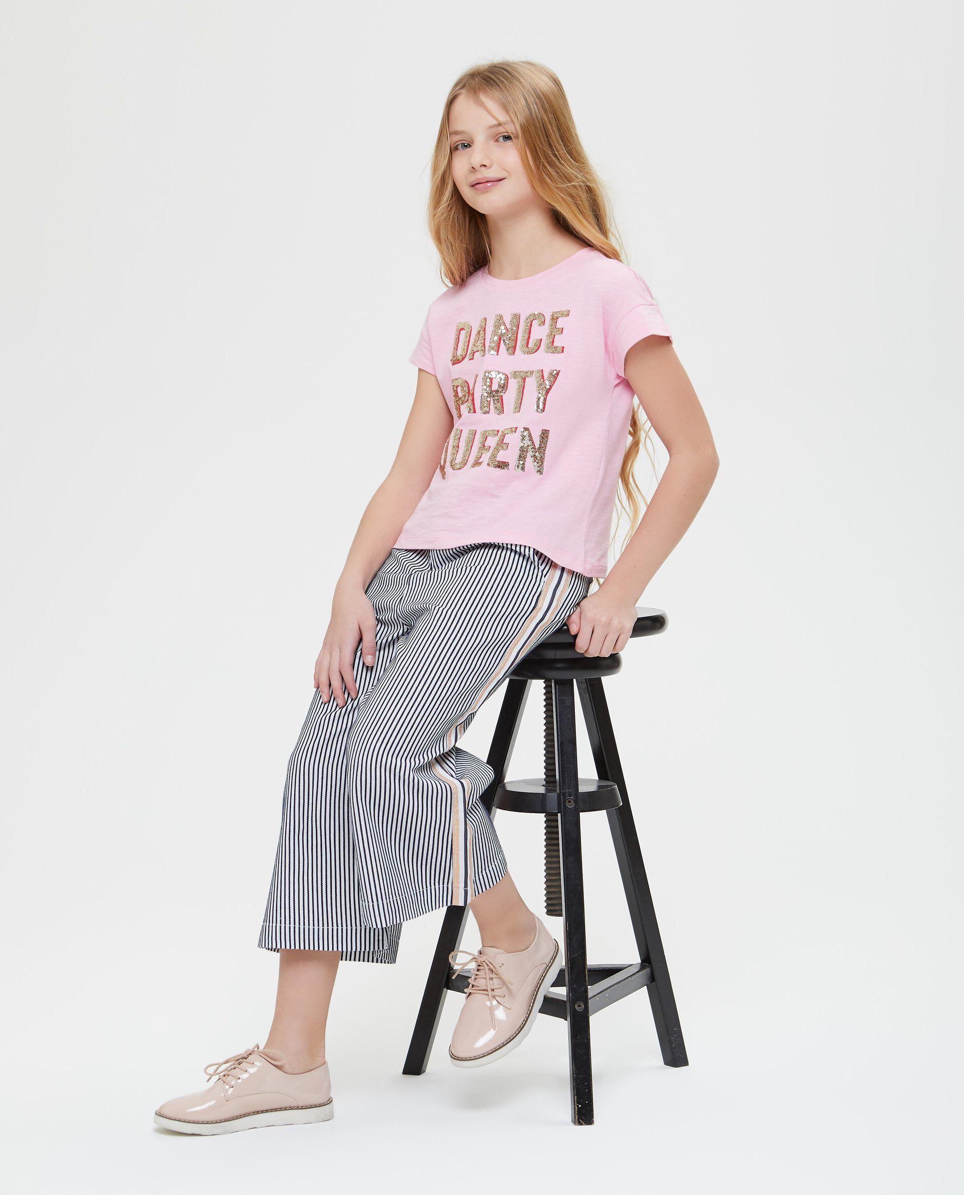 T-shirt puro cotone con paillettes
