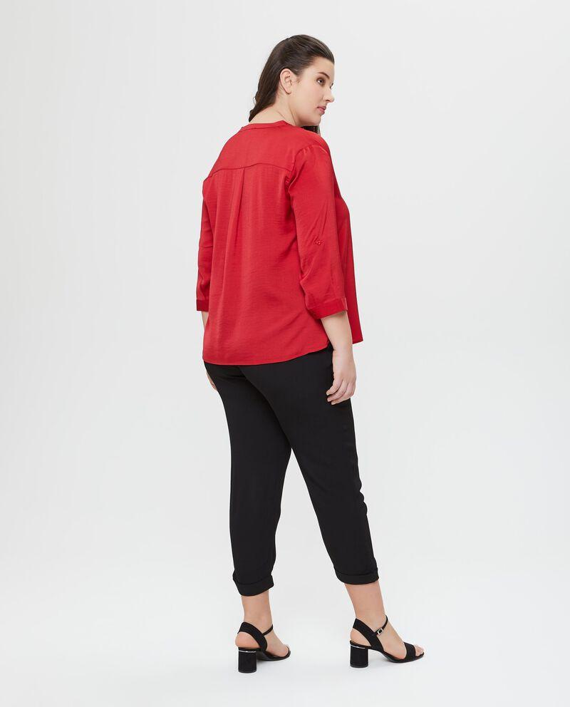 T-shirt rossa a maniche lunghe Curvy