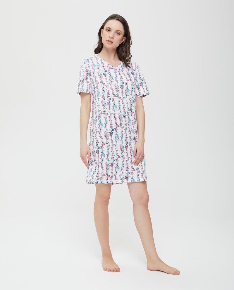 Camicia da notte in puro cotone con scollo a V donna