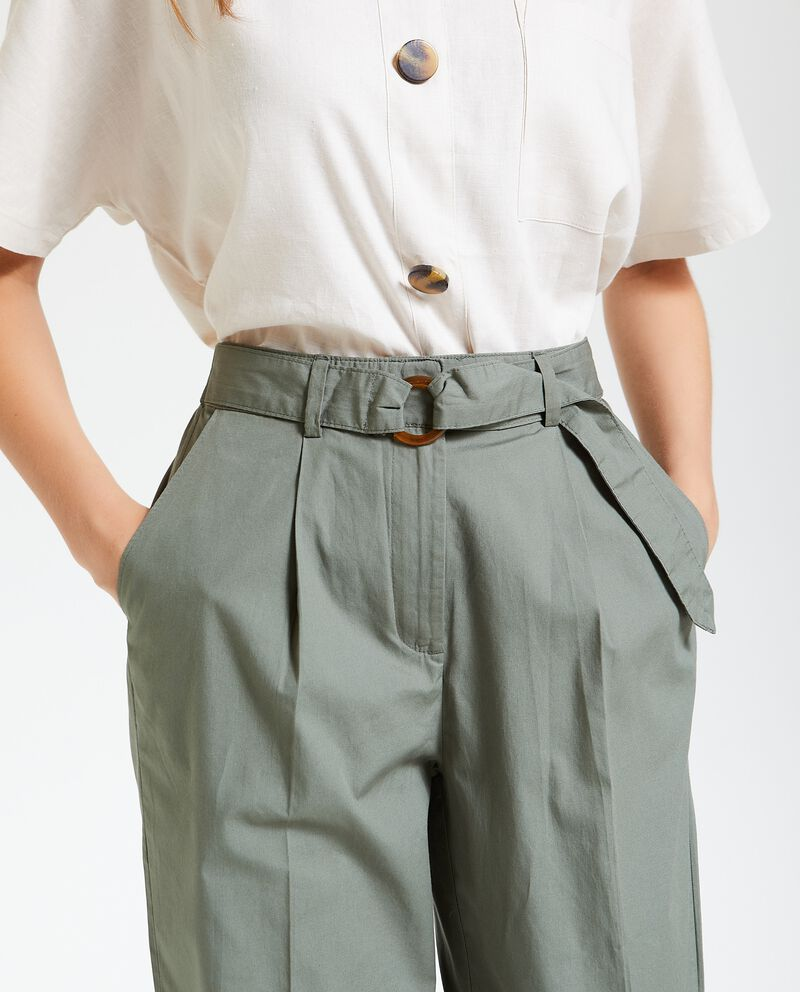 Pantaloni a vita alta in puro cotone donna