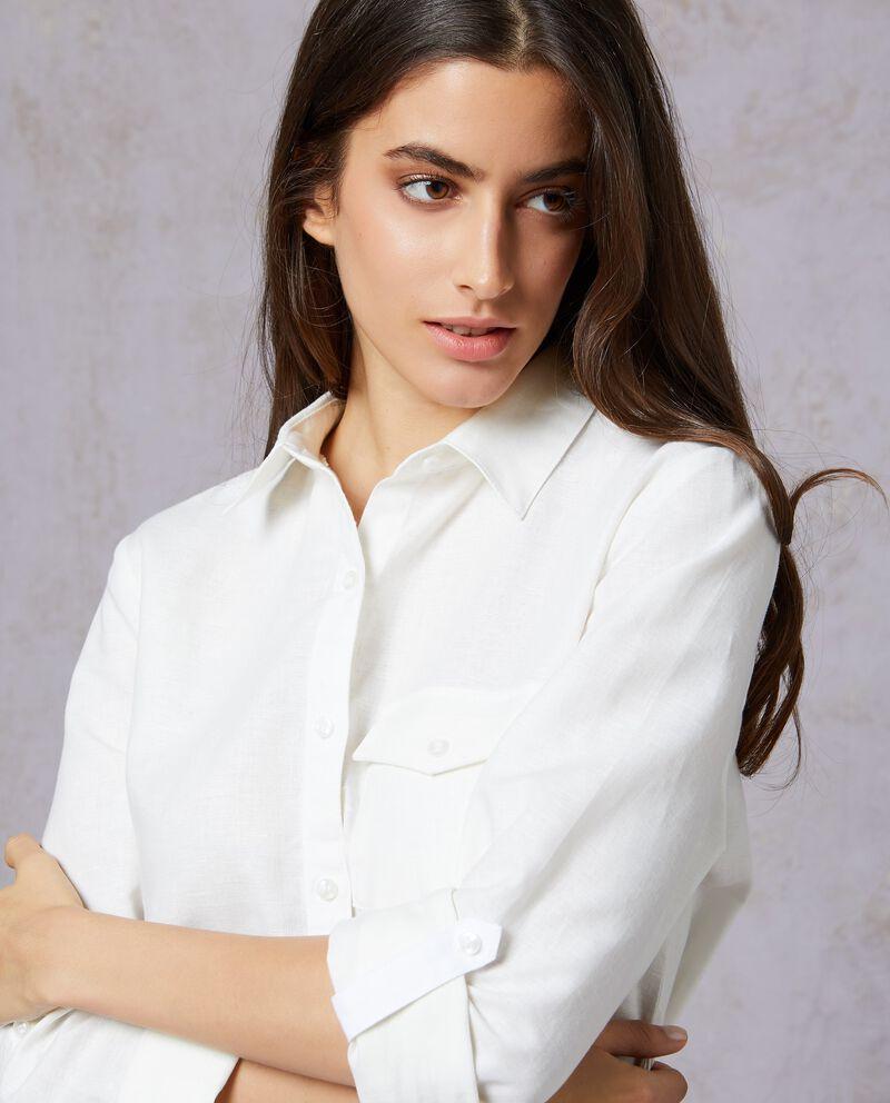 Camicia in tinta unita lunga donna