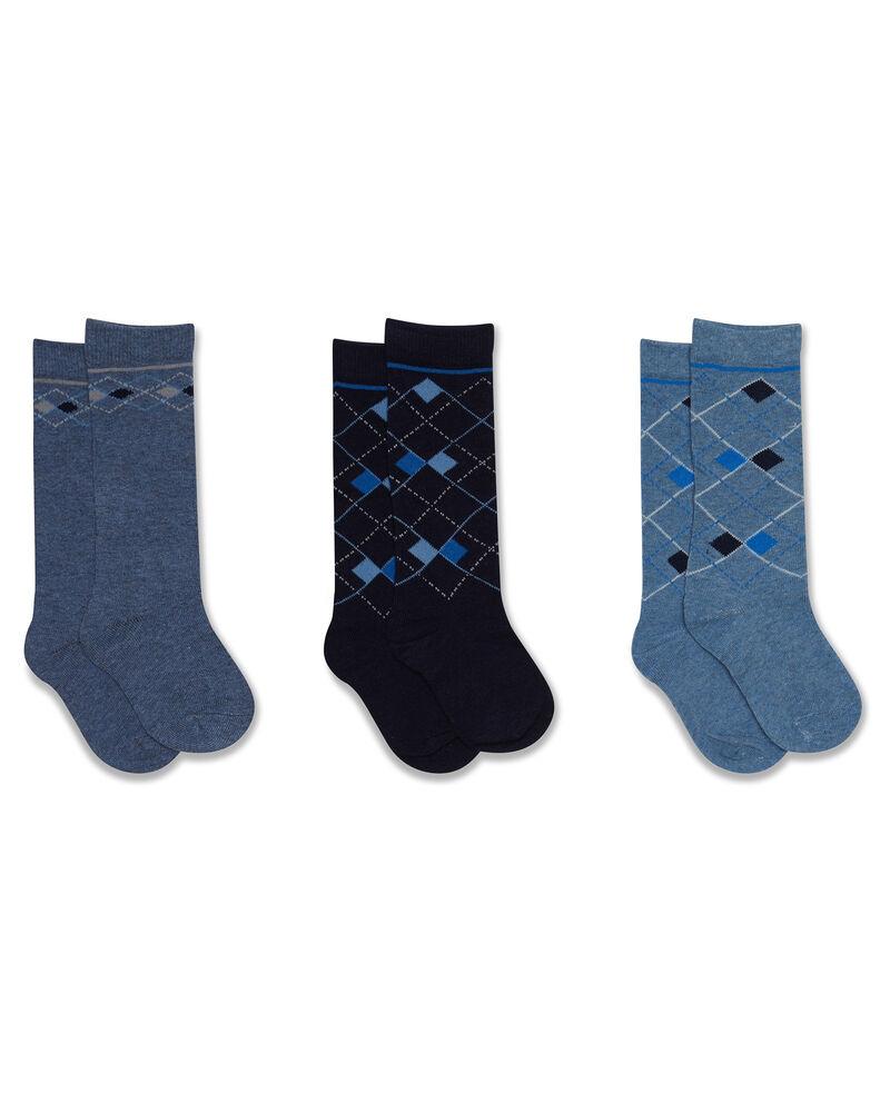 Set tre paia di calze lunghe a rombi
