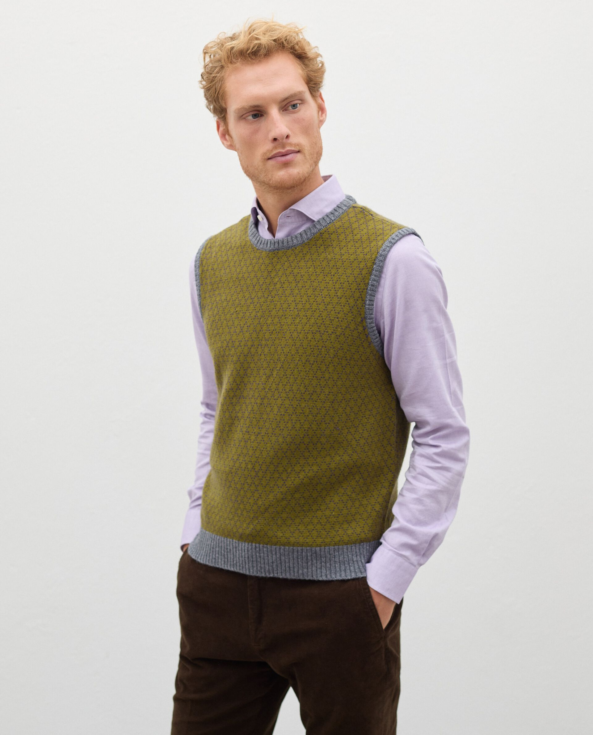 Gilet girocollo in lana misto cashmere uomo
