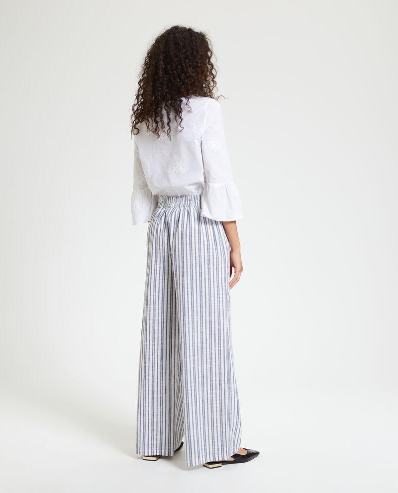 Pantaloni a palazzo in puro cotone a righe donna
