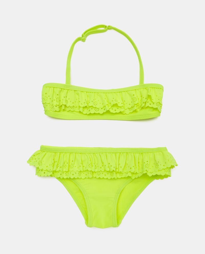 Bikini in tinta unita traforato bambina