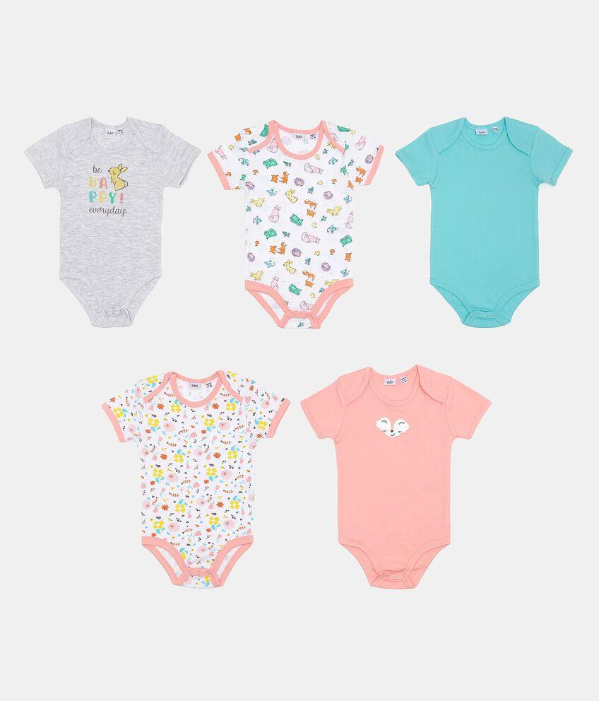 Set con body in fantasia e tinta unita neonata