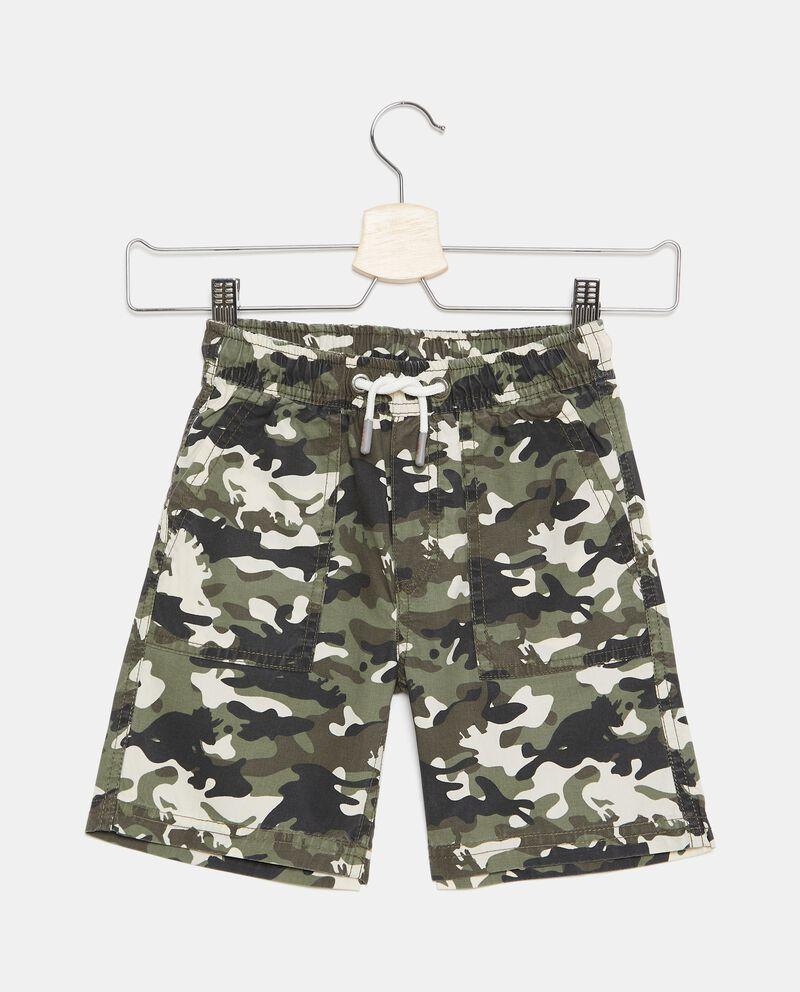 Shorts con stampa camouflage in popeline di cotone bambino