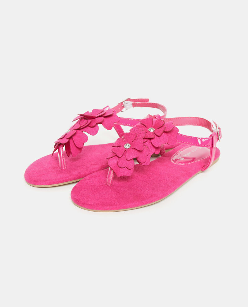 Sandali rosa effetto camoscio in tinta unita donna