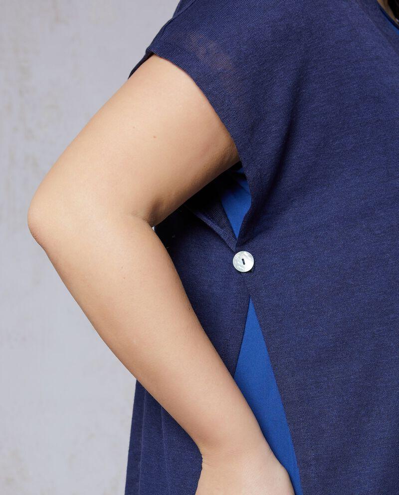 T-shirt a maniche corte con apertura frontale Curvy
