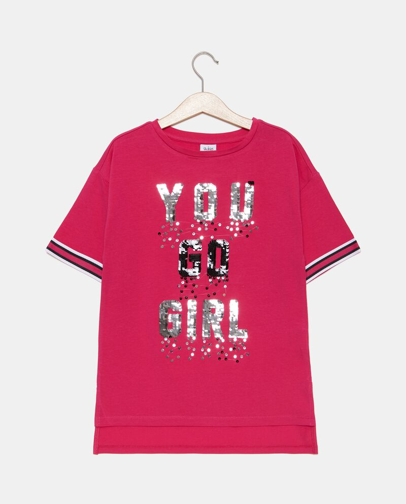 T-shirt con lettering in paillettes ragazza