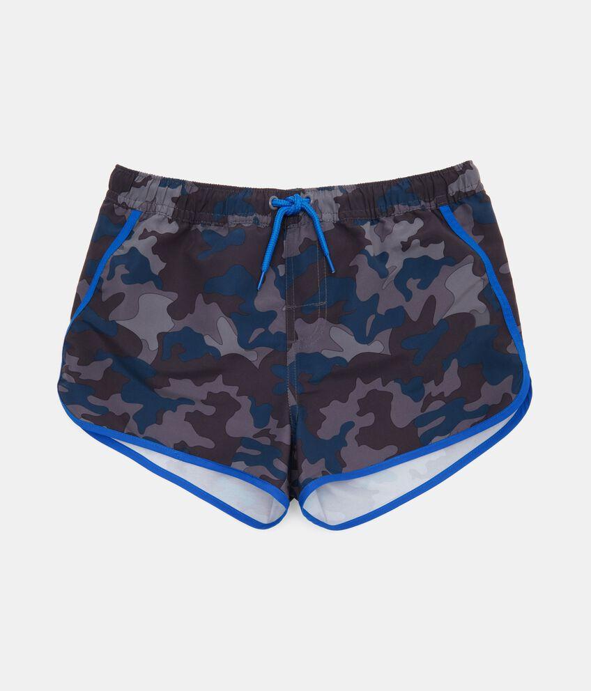 Shorts mare con fantasia militare e profili a contrasto ragazzo