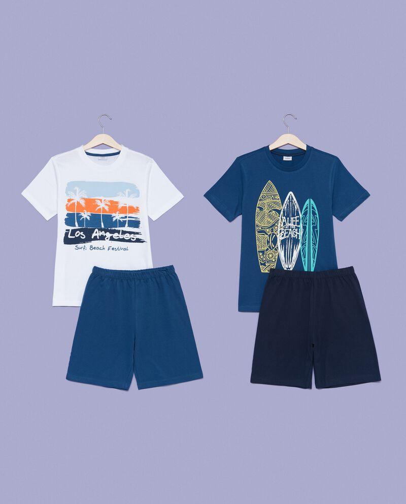 Set pigiama t-shirt e shorts in puro cotone bambino